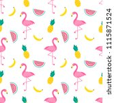 seamless pattern with flamingo... | Shutterstock . vector #1115871524