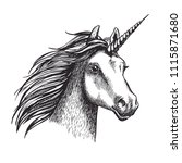 unicorn sketch icon. vector... | Shutterstock .eps vector #1115871680
