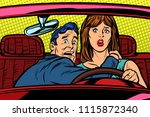 accident car road. funny man... | Shutterstock .eps vector #1115872340