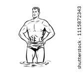 man swimmer in swimming trunks. ... | Shutterstock .eps vector #1115872343
