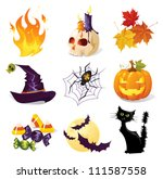 halloween icon set | Shutterstock .eps vector #111587558