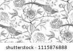 peonies and pheasants. floral... | Shutterstock .eps vector #1115876888