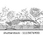 peonies and pheasants. floral... | Shutterstock .eps vector #1115876900