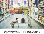 shopping at supermarket ... | Shutterstock . vector #1115879849
