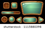 gui wooden buttons with glossy... | Shutterstock .eps vector #1115880398