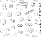 seamless pattern of cheeses of... | Shutterstock .eps vector #1115881940