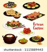 korean cuisine lunch menu icon... | Shutterstock .eps vector #1115889443