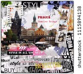 prague  czech republic. vintage ... | Shutterstock . vector #1115894138