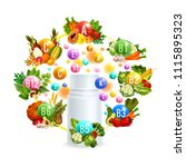 vitamin bottle  surrounded with ... | Shutterstock .eps vector #1115895323