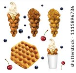 set of hong kong waffles.... | Shutterstock .eps vector #1115896736