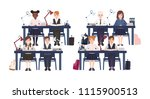 pupils in uniform sitting at... | Shutterstock .eps vector #1115900513