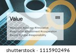value and workplace concept | Shutterstock . vector #1115902496