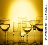 Glasses  Of Wine In Gold Color...