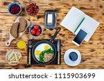 freelancer dine at the cafe....   Shutterstock . vector #1115903699