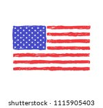 grungy hand drawn flag of the... | Shutterstock . vector #1115905403