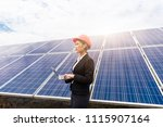 a female business man works in... | Shutterstock . vector #1115907164