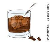 vector contour color coffee... | Shutterstock .eps vector #1115914898