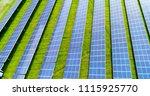 solar panels in aerial view | Shutterstock . vector #1115925770
