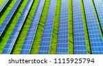 solar panels in aerial view | Shutterstock . vector #1115925794