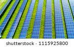 solar panels in aerial view | Shutterstock . vector #1115925800