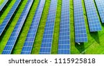 solar panels in aerial view | Shutterstock . vector #1115925818