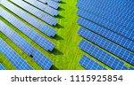 solar panels in aerial view | Shutterstock . vector #1115925854