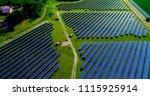 solar panels in aerial view | Shutterstock . vector #1115925914