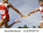 blurred motion male runners... | Shutterstock . vector #111592973