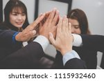 businessman joining united hand ... | Shutterstock . vector #1115932460