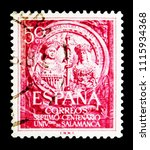 Small photo of MOSCOW, RUSSIA - MAY 15, 2018: A stamp printed in Spain shows VIIth Centenary - University of Salamanca, Universities, Schools, Colleges serie, circa 1953