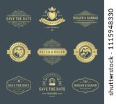 wedding labels and badges... | Shutterstock .eps vector #1115948330