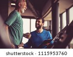personal trainer giving support ... | Shutterstock . vector #1115953760