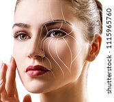 graphic lines showing facial... | Shutterstock . vector #1115965760