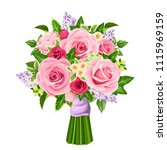 vector bouquet of red and pink... | Shutterstock .eps vector #1115969159
