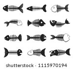 fish skeleton set. black and... | Shutterstock .eps vector #1115970194