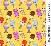 seamless pattern with kawaii... | Shutterstock .eps vector #1115977238