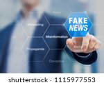 fake news concept with a person ... | Shutterstock . vector #1115977553