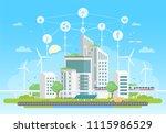 eco friendly housing complex  ... | Shutterstock . vector #1115986529