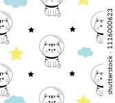 cat spaceman head  hands. cloud ... | Shutterstock .eps vector #1116000623