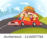 happy family traveling by car.... | Shutterstock .eps vector #1116007766