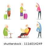 elderly couples in various... | Shutterstock .eps vector #1116014249