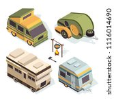 isometric camping cars. vector... | Shutterstock .eps vector #1116014690