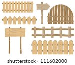 set of wooden fences and signs | Shutterstock .eps vector #111602000