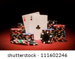 poker chips and playing cards... | Shutterstock . vector #111602246