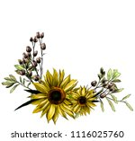 wreath in the form of a bouquet ... | Shutterstock .eps vector #1116025760