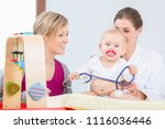 cute and healthy baby girl... | Shutterstock . vector #1116036446