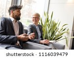 two business colleagues... | Shutterstock . vector #1116039479