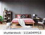grey armchair and pouf near... | Shutterstock . vector #1116049913