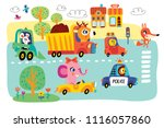 a landscape with cute little... | Shutterstock .eps vector #1116057860