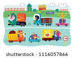 a landscape with cute little... | Shutterstock .eps vector #1116057866